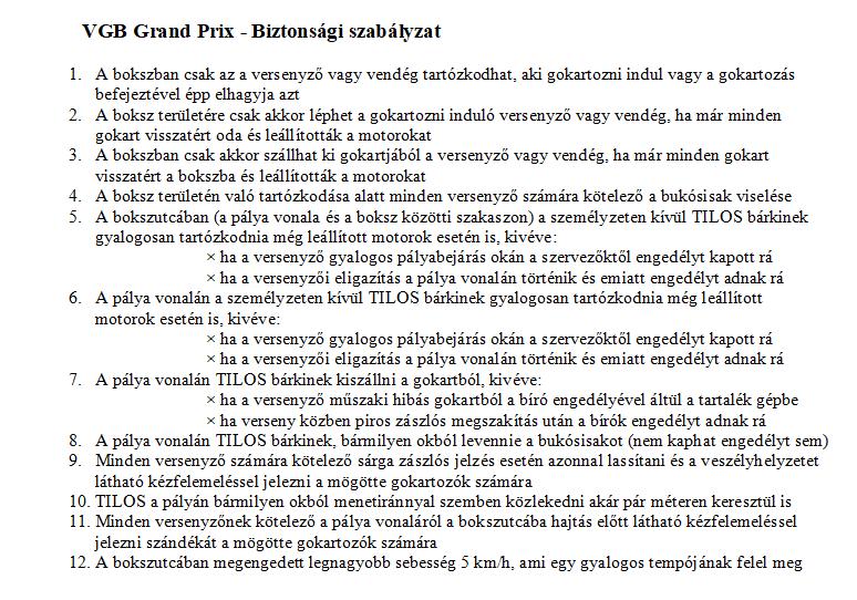 Gokart Sport Vác - biztonsági szabályzat